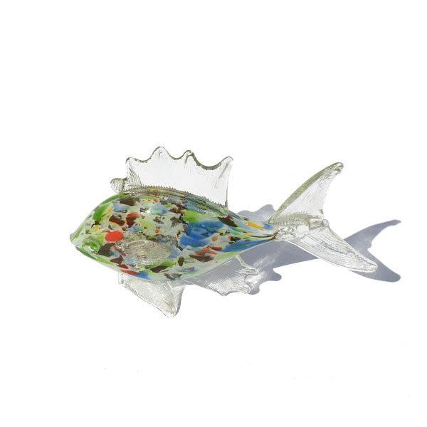 Bibelot : grand poisson en verre multicolore de Murano