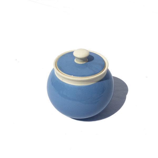 Sucrier boule en faience bleu et crème - art de la table - Brocante du eshop de Madame M
