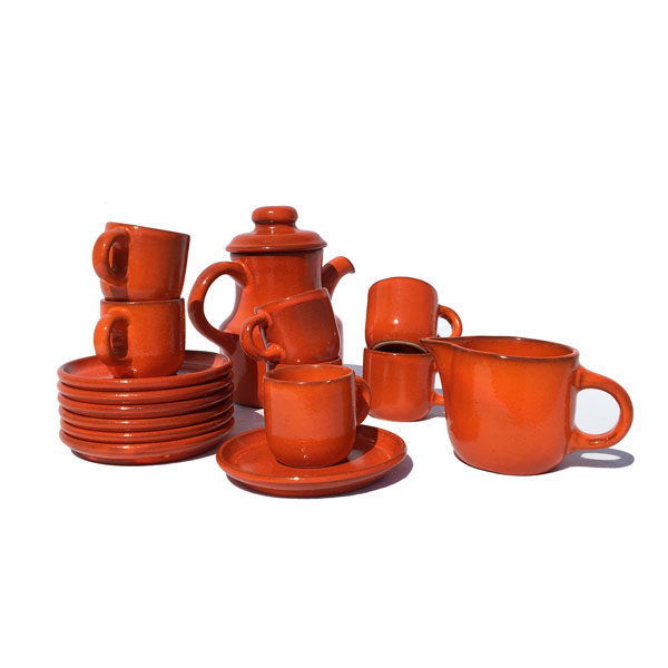 Magnifique service à café ou a thé orange en grès - Années 50/60 disponible sur le eshop de Madame M