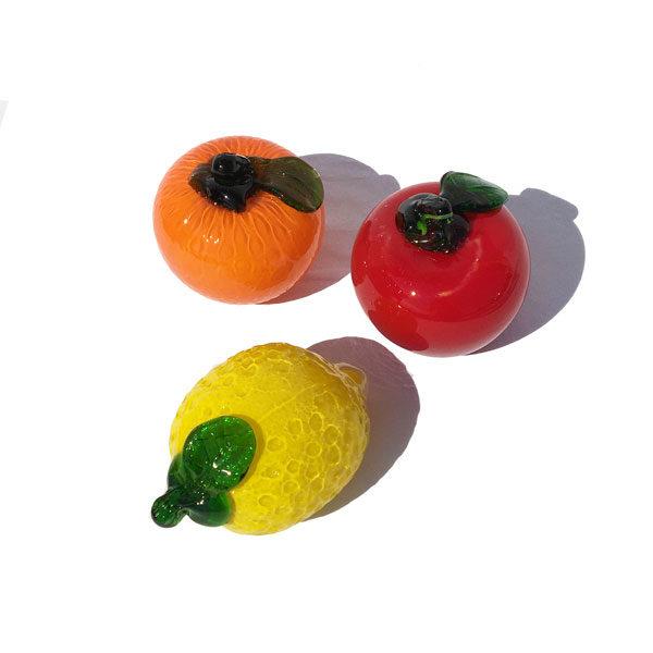 Lot de 3 fruits en verre des années 70