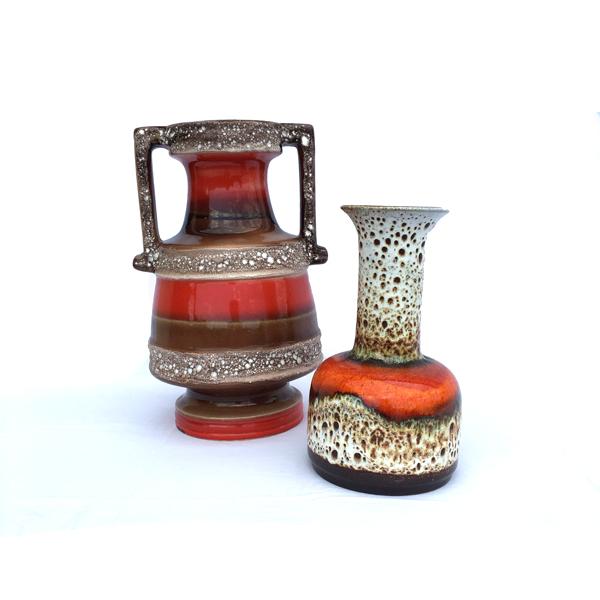 Duo de vases en céramique orange et rouge vintage