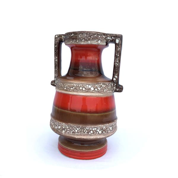 Grand vase en céramique rouge vintage