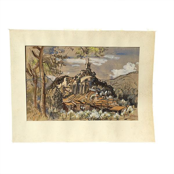 Dessin à l'aquarelle, feutres et encre de Chine représentant le village de Contes en Provence-Alpes-Côte d'Azur.