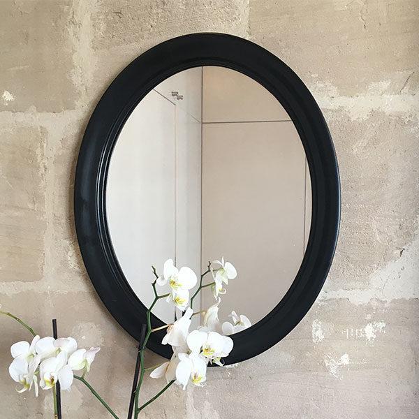 Miroir en bois de forme ovale style contemporain - décoration murale - Brocante Eshop de Madame M