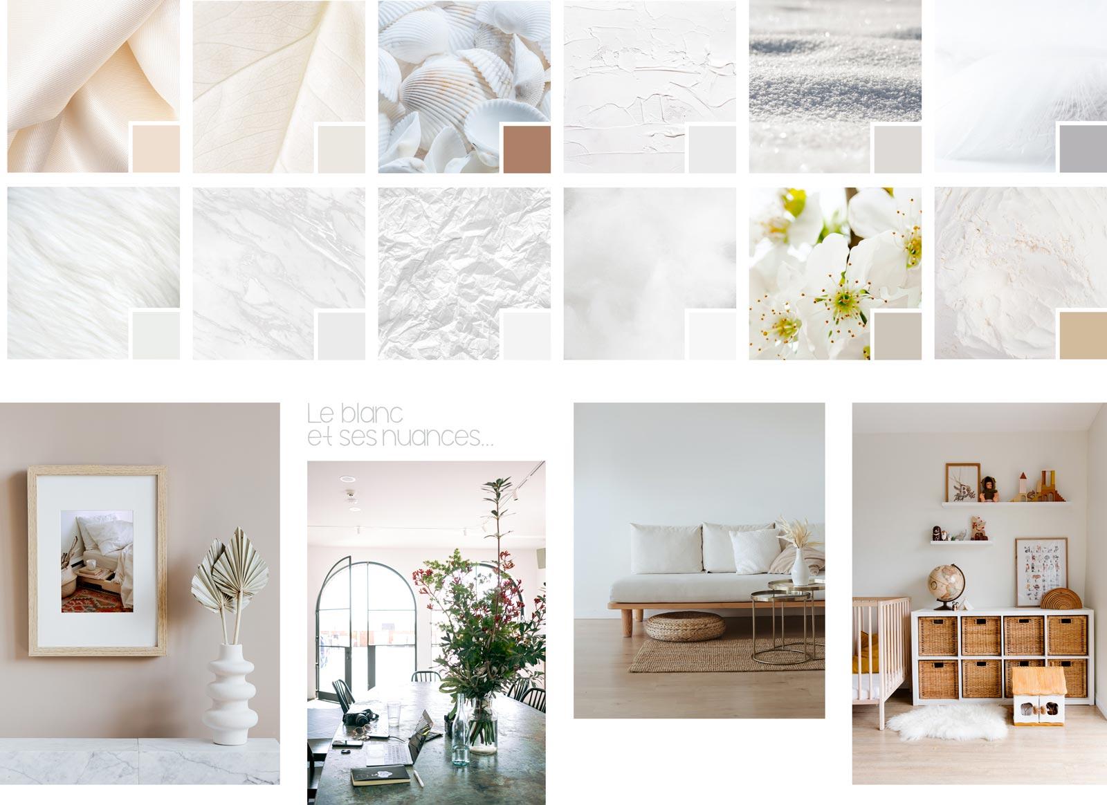 Une planche tendances aux tons de blanc - sur le blog de Madame M