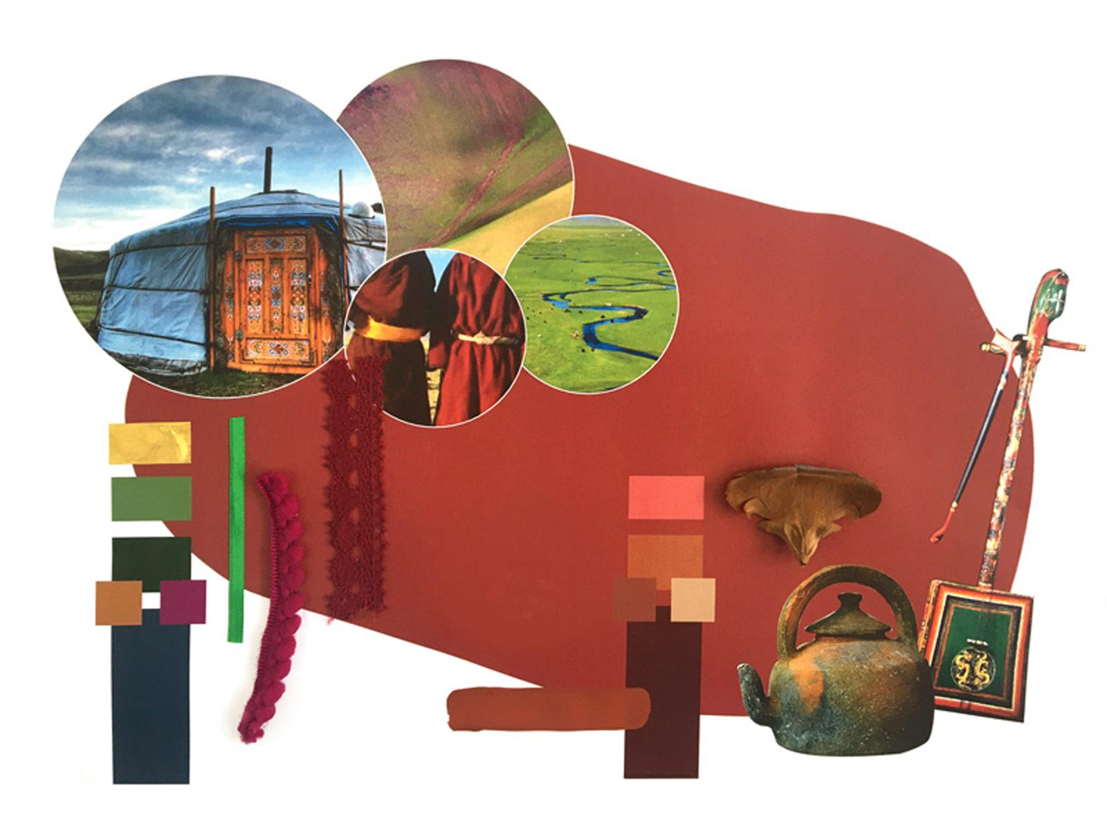 Planche tendance inspirée de Mongolie imaginée par Madame M